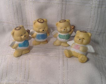 Set of 4 Angel Bear Christmas Ornaments - Colorful Baby Bears with Wings and Golden Halo - Miniature Baby's Room, Nursery FIgurines