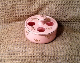 Vintage Ceramic Lipstick Holder - Pink with Gold Trim & Accents Design - Topline Imports, Japan - Make Up, Beauty Storage - Gift For Her