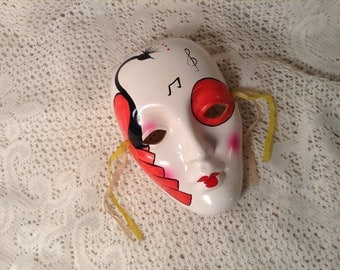 Vintage White Ceramic Mask with Red Peacock - Hand Painted Peacock, Hot Pink Cheecks, Music Notes - Harlequin Joker Hanging Wall Mask