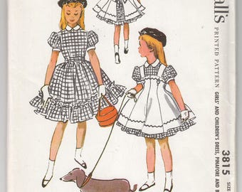 1950s Uncut FF McCall's 3815 Girls Dress, Pinafore and Beret - Designed By Helen Lee of Youngland - Size 10 Child - Vintage Sewing Pattern