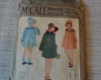 Vintage 1920s McCall Printed Child's Coat Pattern 2901