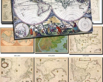ANTIQUE MAPS-10 Collection of 170 large size images printable old ancient World ephemera card vintage Earth download 300 dpi High resolution