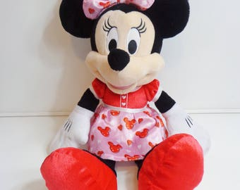 "Collectible Disney 20"" Minnie Mouse Stuffed Doll with Pink Hearts Dress Rare Plush Toy Disneyana Character"