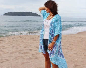 Boho Beach cover up - Kimono in teal and pink  with sequins - long, Flowy and soft Boho Kimono cardigan, / robe /