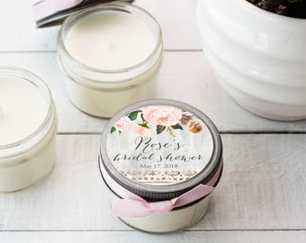 Set of 12 - 4 oz Bridal Shower Favor Candles - Rose Label Design | Baby Shower Favors | Birthday Party Favors - ANY OCCASION