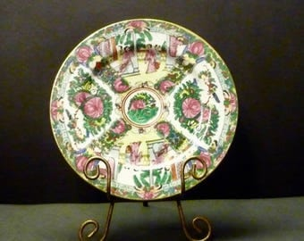 """Rose Medallion Plate- Decorated in Hong Kong - 10 1/2"""""""