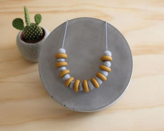 Mustard and Icy Blue Necklace // Dot Dash ./ Collection // Polymer Clay // Felt Ball