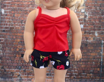 18 Inch Girl Doll Clothes | Black Floral Slant Pocket SHORTS American Made