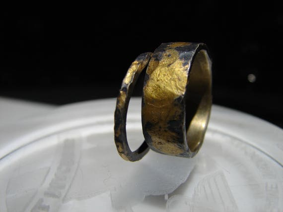 Wedding set. 24k gold infused on sterling. This set is custom and handmade. These have a rustic and unique look. Wonderfully textured.