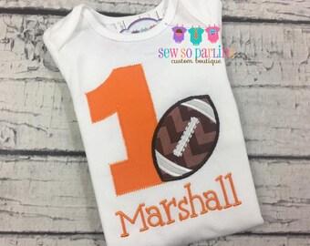 1st Birthday Football Shirt - Football birthday shirt - Boy birthday shirt - orange football birthday shirt -first birthday boy shirt ANYAGE