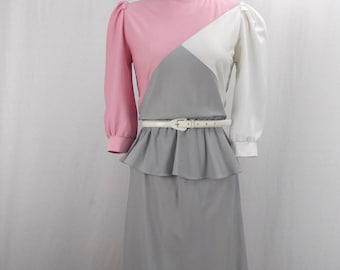 1980's Gray and Pink Peplum Dress size small to medium
