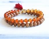 Carnelian Mala Bracelet, Ombre Bracelet, Sandalwood Mala Beads, Tassel Bracelet, Boho Jewelry, Yoga Jewelry