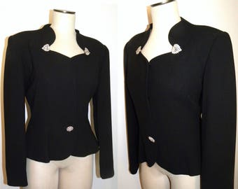 80s 90s does 40s Black Tailored Jacket with Rhinestone Accents / ALVIN BELL New York Designer Evening Structured Blazer / Vintage size 10