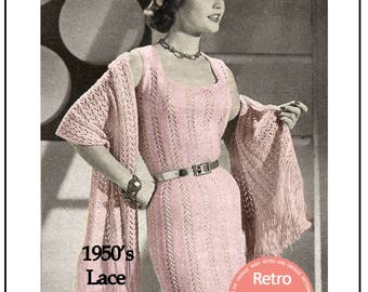 1950s Lace Wiggle Dress and Stole Knitting Pattern  - PDF Instant Download