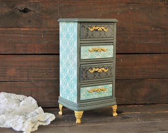 Jewelry Chest, Shabby Chic, French Provincial, Jewelry Box, Grey, Aqua, Rustic, Damask, Hand Painted, Jewelry Organizer, Gift for Her
