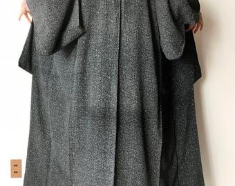 """Woman's Kimono Robe - Vintage Japanese Kimono - Japanese Robe - Authentic Kimono - Long Woman's kimono - Boho Kimono - """"Thatched Roof"""" M"""