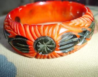 1I Carved Bakelite Bracelet