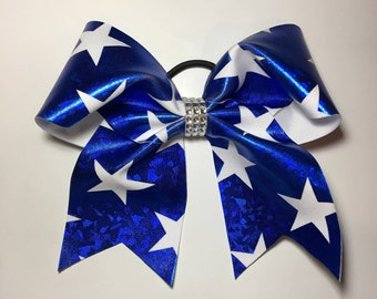 Shiny blue and white star cheer bow