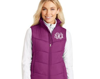Womens Vest, Puffy Vest, Monogrammed Vest, Personalized with Embroidered Monogram. Vest for Travel or Casual Wear in Your Choice of Colors.