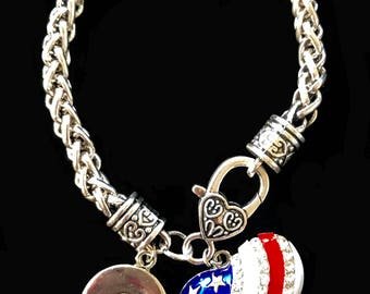 US Flag Heart Snap Bracelet fits 18 mm snap buttons