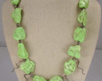 "Bright Sterling and Lime Green Nugget Necklace ~ 23"" Long"