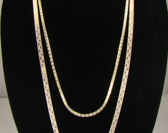 "Set of Two Reverisble Milor Sterling Flat Serpentine Chain Necklaces ~ 36"" & 30"" Long"