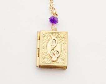 Music Locket, Treble Clef Locket, Gold Music Locket Necklace, Book locket, Custom Treble Clef Necklace, Music Teacher Gift, Birthstone gift