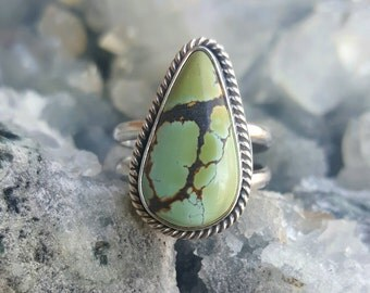 Turquoise Sterling Silver Ring, Boho Statement Ring, Cannabis Jewelry,  Turquoise Ring, Gemstone Ring, Natural Turquoise Ring, Size 6 Ring
