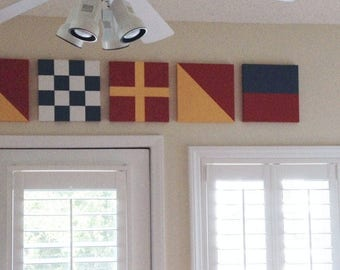 Nautical Flags Letters Numbers Signal Painted