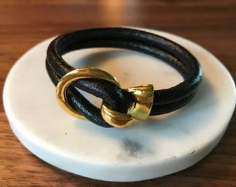 Black Double Strand Leather  Gold Tone Clasp Bracelet,Leather Bangle, Silver and Black Leather Bracelet, Men's and Women's Leather Bracelet,