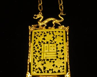 Dragon Pendant Medallion Necklace Asian Design by Art Vintage