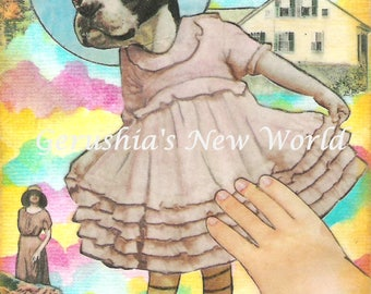 Dancing Fiona - Anthropomorphic, Watercolor, Collage, Boston Terrier, Print