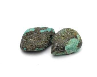 Natural Genuine Turquoise Teardrops Large Stones 13-14x17-19mm 2pcs