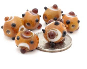 Vintage Burnt Orange Lampwork Beads 12-15mm 4pcs