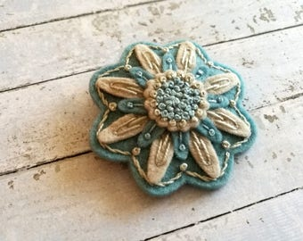 Embroidered Winter Brooch, Light blue and grey brooch, Winter Flower Brooch, Winter Pin