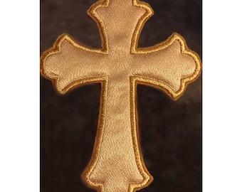 Applique Cross, Gold Applique Cross, Large Applique Cross, Stitched Applique Cross