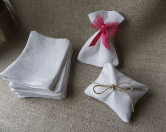 set of 10,favor bags,pouches,dragee,white,linen,french antique linen and cotton,almond dragee,to paint,customize