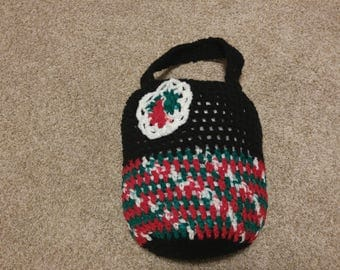 crochet market bag with floral detail = small tote = purse = handbag - Red Green White