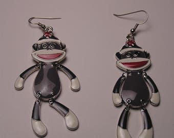 Sock Monkey Dangle Earrings, Charming Earrings, Childhood Memory Earrings