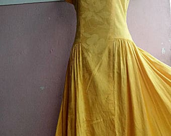 c212e725d465 S - 70s Summer Day Dress - Yellow Christian Dior Pret-a-Porter Low