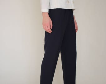 navy high waist tapered pants/ pleated trouser/ 80s
