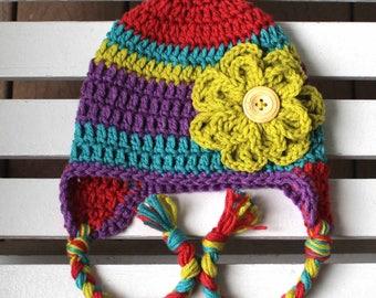 Stripe Flower Hat, Girl Hat, Crochet Hat, Knit Hat, Kids Hat, Children Hat, Baby Hat, Winter Hat, Colorful Hats, Toddler Hats