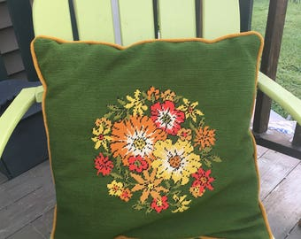Vintage Retro Green and Floral Needle Point Pillow, Large Needlepoint Pillow