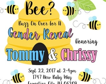 What Will Baby Bee, What Will Baby Bee Invitation, gender reveal, What Will It Be, He Or She,BabyShower, Bee Themed Gender Reveal invitation
