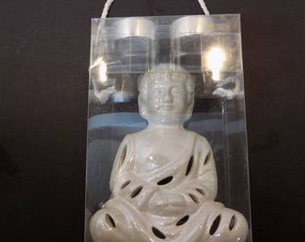 NEW Ceramic Buddha Tea Candle Gift Set Sculpture Figurine Asian Zen Thai Oriental Spiritual Religious Hindu Gift
