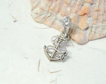 Anchor Belly Button Ring, Reverse Dangle Belly Ring, Belly Button Jewelry, Cute Belly Ring, Nautical Beach Ocean