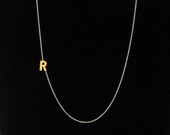 Gold Silver Initial Necklace, Sideways Necklace, Dainty Necklace, Letter Necklace, Monogram Necklace, Personalize Necklace, Bridesmaid Gifts