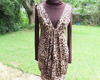 Vintage Leopard Jumper Dress- 1980's Banded Bottom dress with vintage turtle neck Size Large