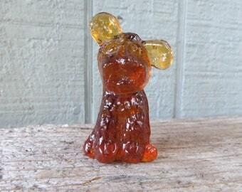 "Little Amber Glass Puppy Dog Vintage 2 1/2"" Dog Figurine"