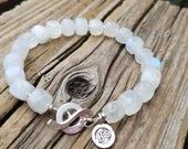 Moonstone Bracelet and Hill Tribe Silver, Ohm Symbol Charm, AAA Rainbow Moonstone Cube, Beachy,  Artisan Jewelry, White Moonstone Cube